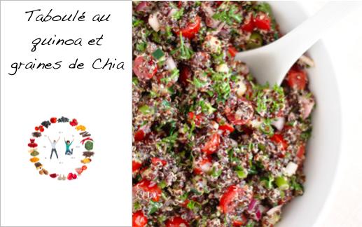 Recette taboulé au quinoa et graines de Chia - synergie alimentaire